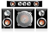 Set of different loudspeakers including subwoofer — Stock Vector