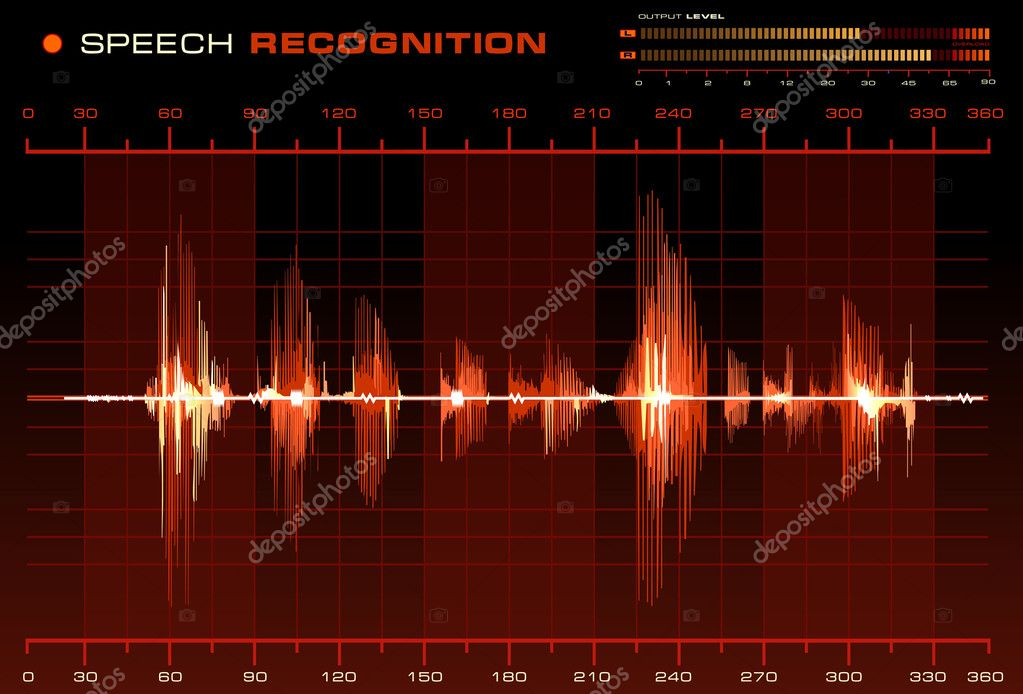Speech recognition signal on red background, red Spectrum Analyzer vector — Stock Vector #1190155
