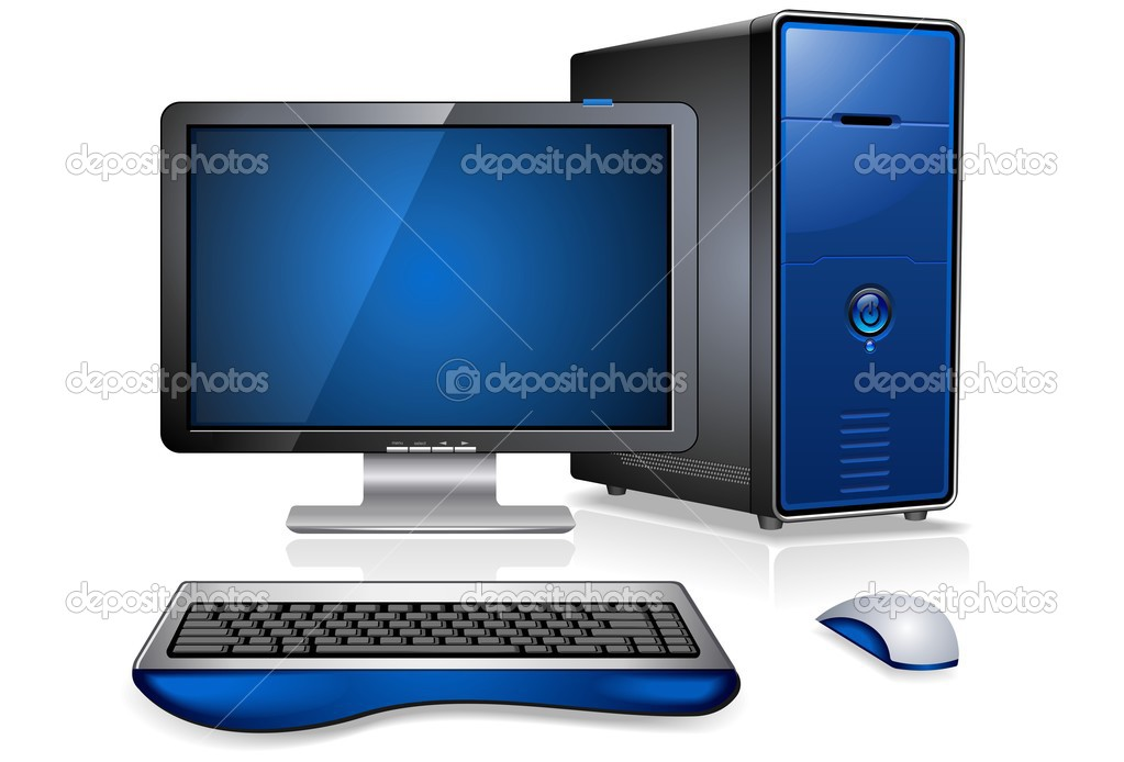 Realistic computer work station  Imagen vectorial #1412194