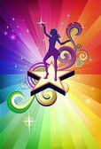 диско девушка танцует — Cтоковый вектор