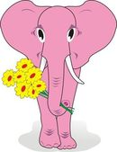 Pink elephant with flowers — Stock Vector