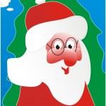 jultomten och en grön päls-träd — Stockvektor