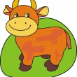 Small cow on a green — Imagen vectorial