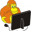 Monkey and computer — Stock Vector #1160859