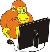 Monkey and the computer — Stock Vector