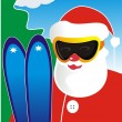 Santa Klaus in ski glasses with skis — Stock Vector