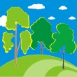 Three trees on the hill — Stock Vector
