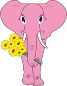 The pink elephant with flowers isolated — Stock Vector