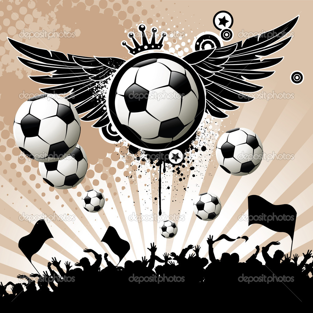 Football background  with the balls, wings and stars — Stock Vector #1113756