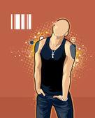 Rawny bald man — Stock Vector