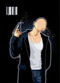 Brawny bald man — Stock Vector