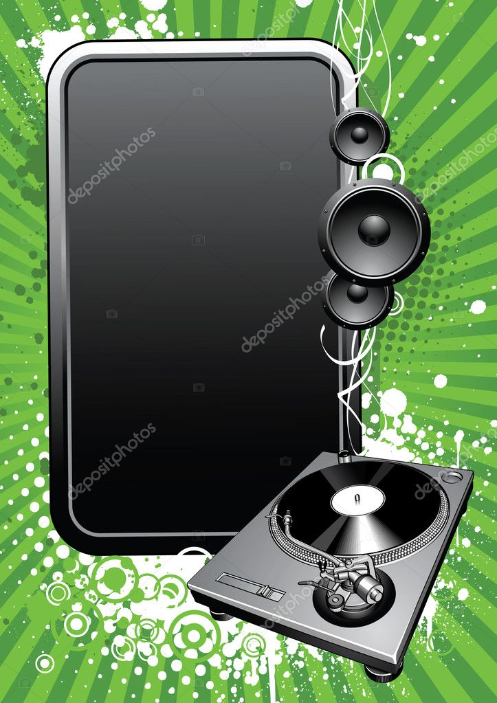 Modern  musical background with turntable — Stock Vector #1204806