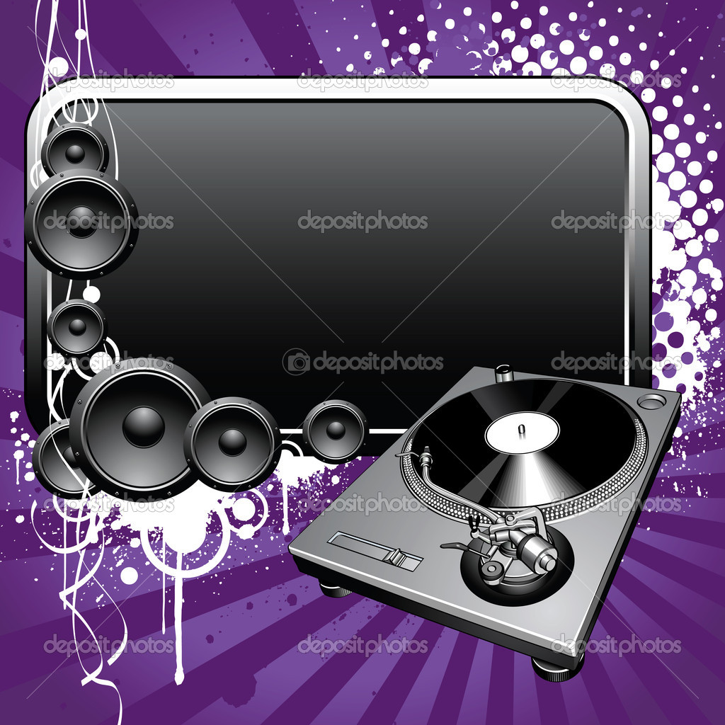 Turntable and glossy banner on a grunge background — Stock Vector #1214345