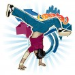 Cool image with breakdancer - Stok Vektr