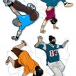 Set of vector breakdancers - Stock Vector