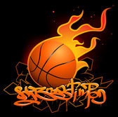 Basketball graffiti image — Stock Vector