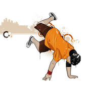 Cool image with breakdancer — Stock Vector