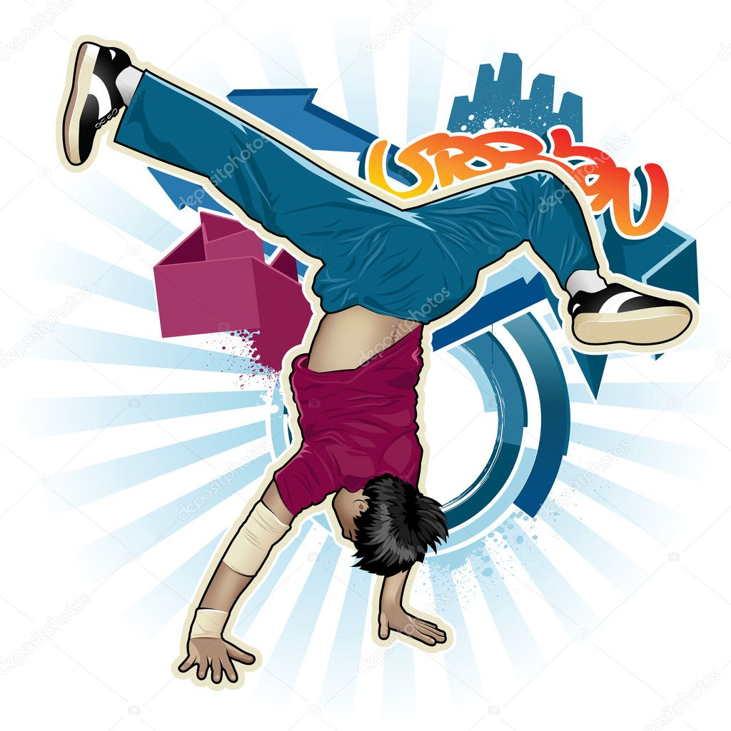 Cool image with breakdancer and street style attributes — Stock Vector #1287798