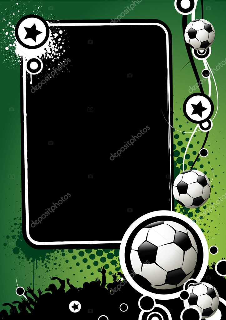 Football banner with the balls and stars on a green background — Stock Vector #1288016