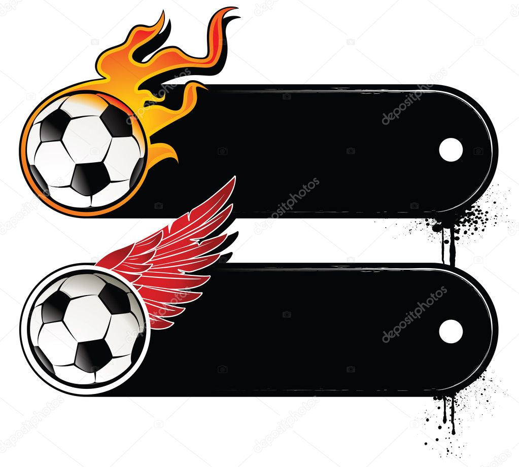 Football attributes and banners for your text — Stock Vector #1333792