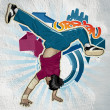 Stock Photo: Cool image with breakdancer on the wall