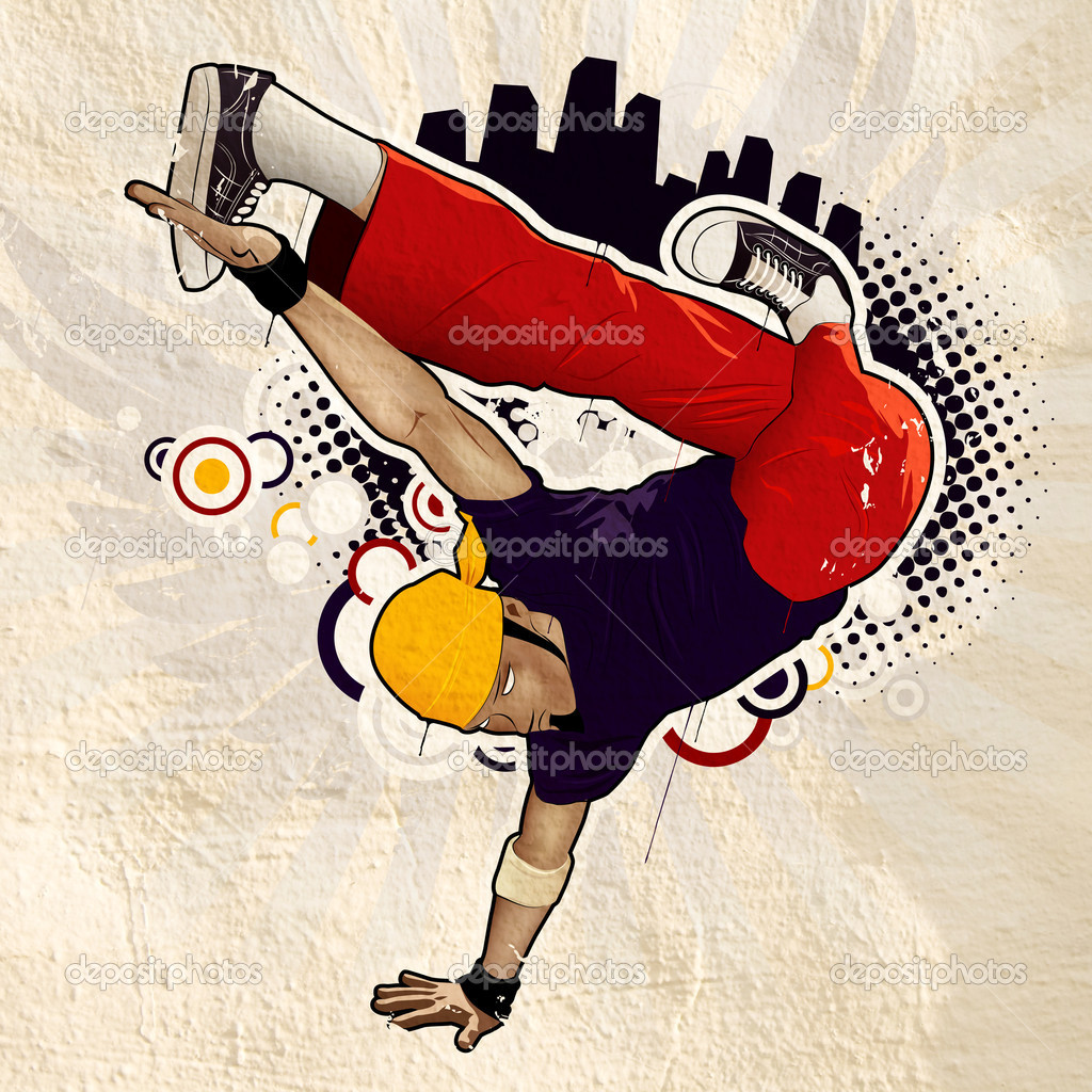 Cool image with breakdancer on the wall — Stock Photo #1391146