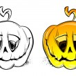 Stock Vector: Two vector pumpkins