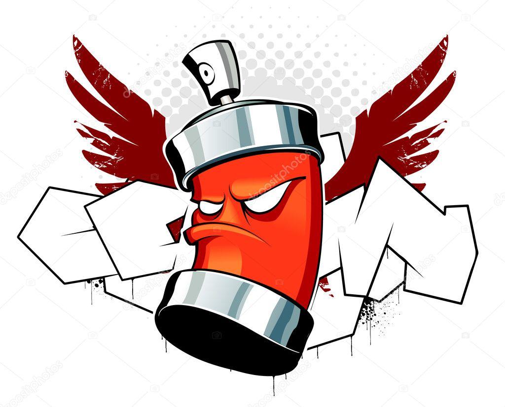 Cool puede con alas sobre fondo de graffiti\u2014 Vector de Vecster