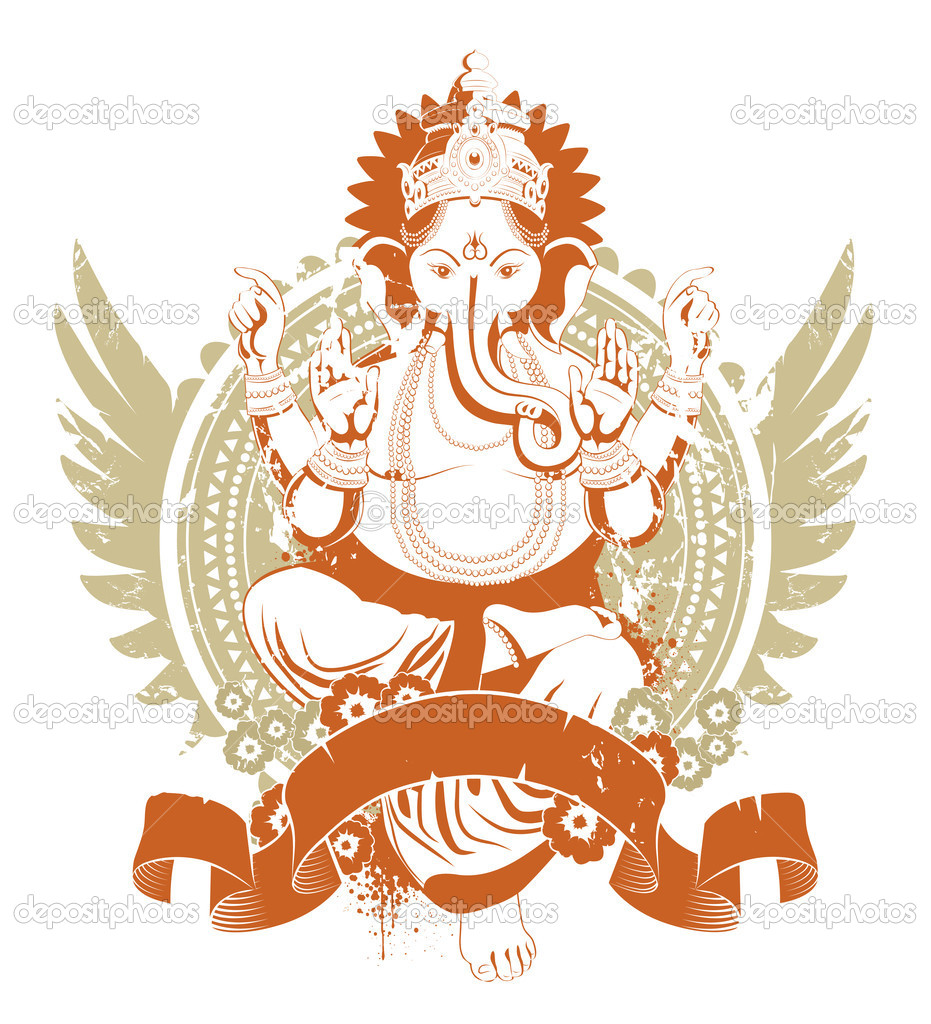 Ethnic image with indian idol — Stock Vector #1391129