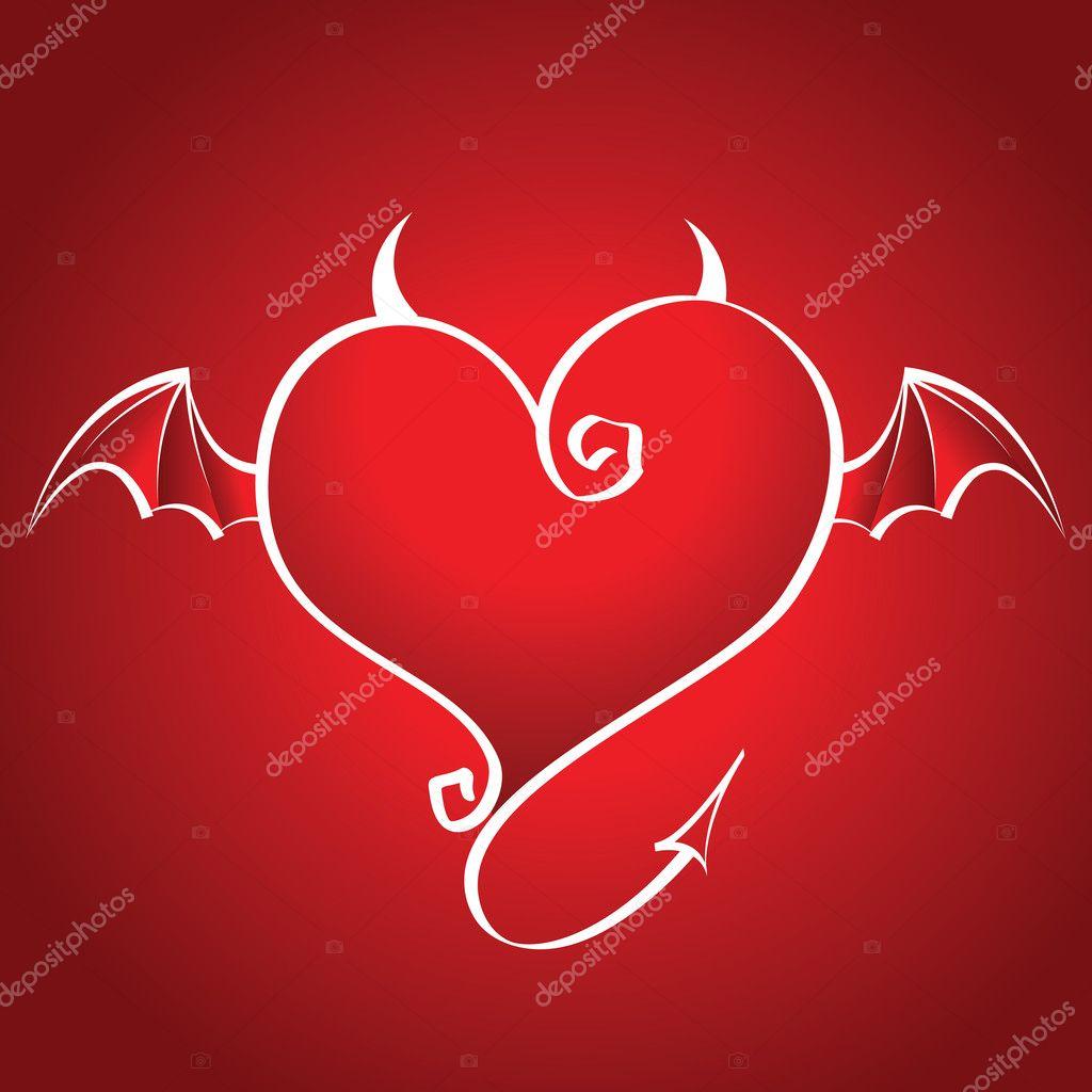 坏心的翅膀和角飞红色背景上 — 矢量图片作者 seniors