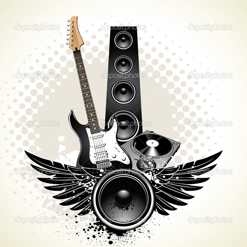 Speaker with wings and instruments on grunge background  Stock Vector #1395764