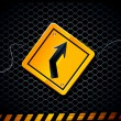 Vector road sign on dark background - Stok Vektr