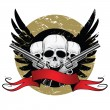 Skulls with wings and pistols - Stock Vector