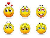 Set of pretty smiles-balls — Stock Vector