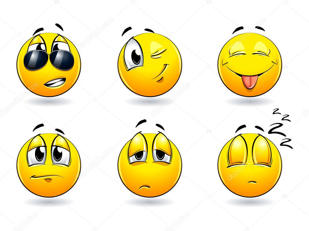 Set of pretty smiles-balls. Vector illustration. — Stock Vector #1451146