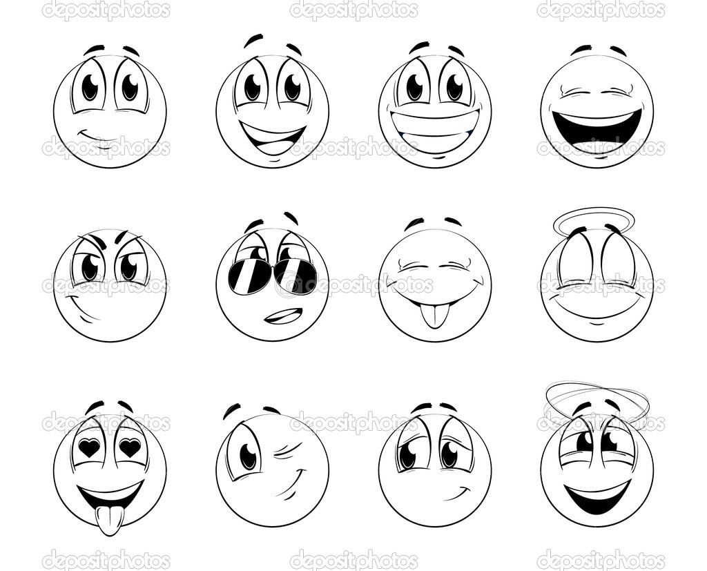 Set of positive smiles-balls. Sketch version. Vector illustration.  — Stock Vector #1451151