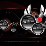 Glossy futuristic speakers — Stock Vector #1469298