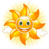 Cartoon happy sun — Stock Vector