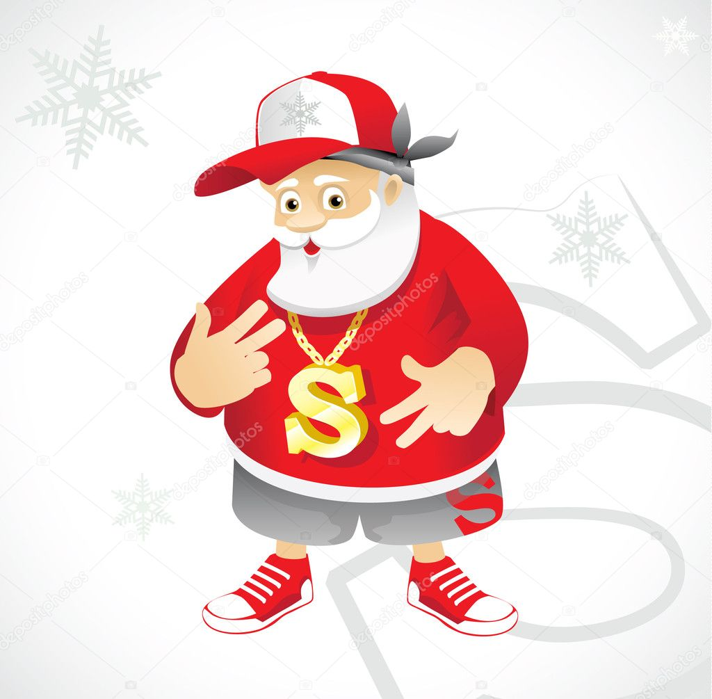 Santa Claus rapper — Stock Vector #1214820