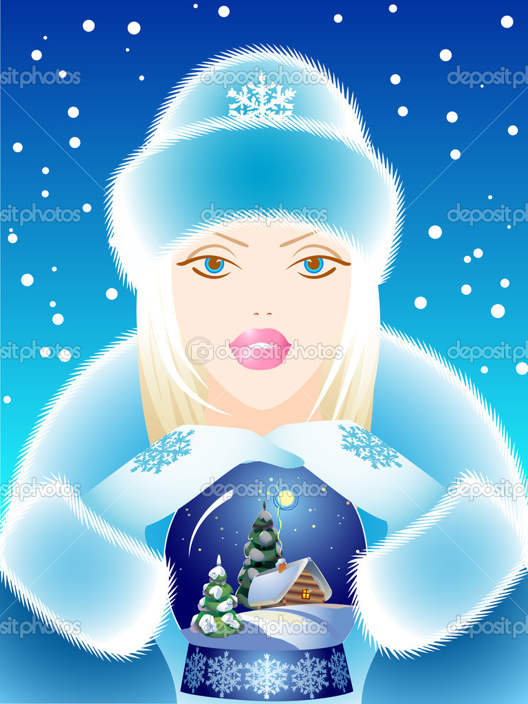 Snow Maiden with a gift. Vector illustration   Stock Vector #1137001