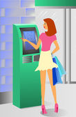 Girl at ATM machine — Stock Vector