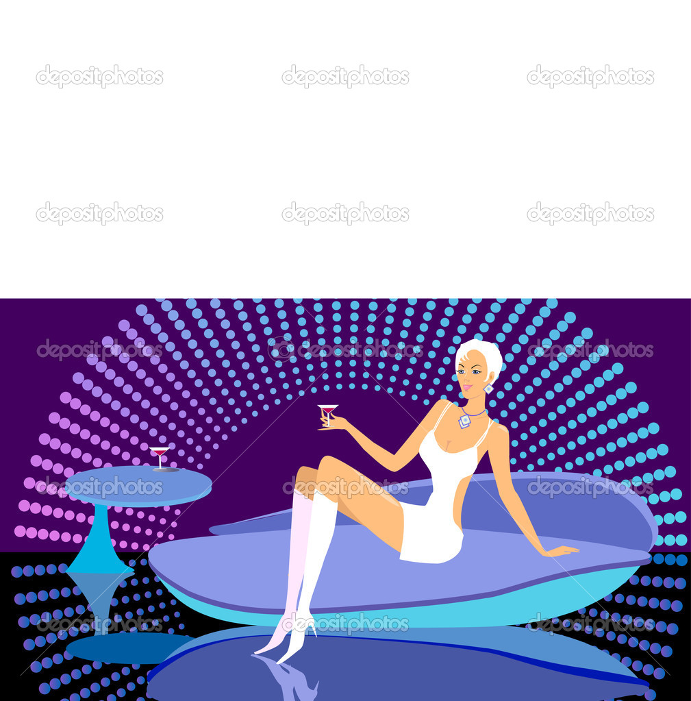 Girl in  nightclub. Vector illustration  Stock Vector #1155549