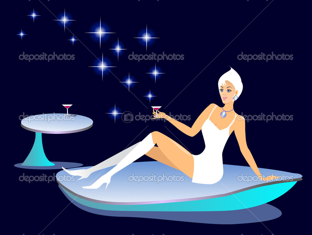 Girl in outer space. Vector illustration.  Stockvectorbeeld #1162776