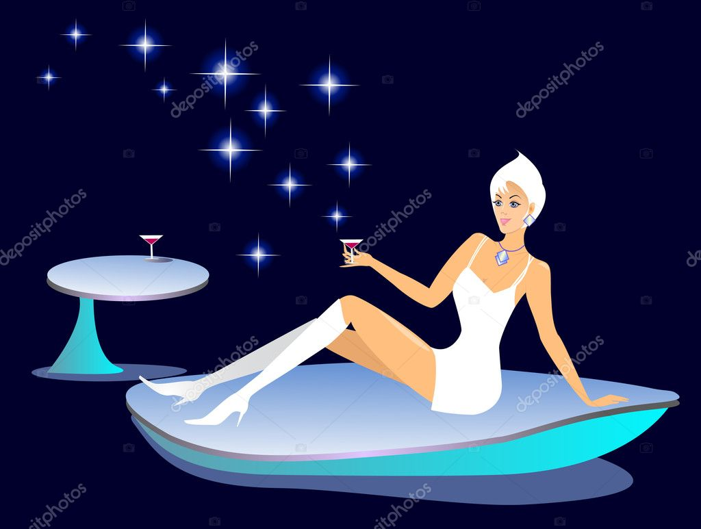 Girl in outer space. Vector illustration. — 图库矢量图片 #1162776
