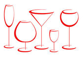 Five wineglasses — Stock Photo