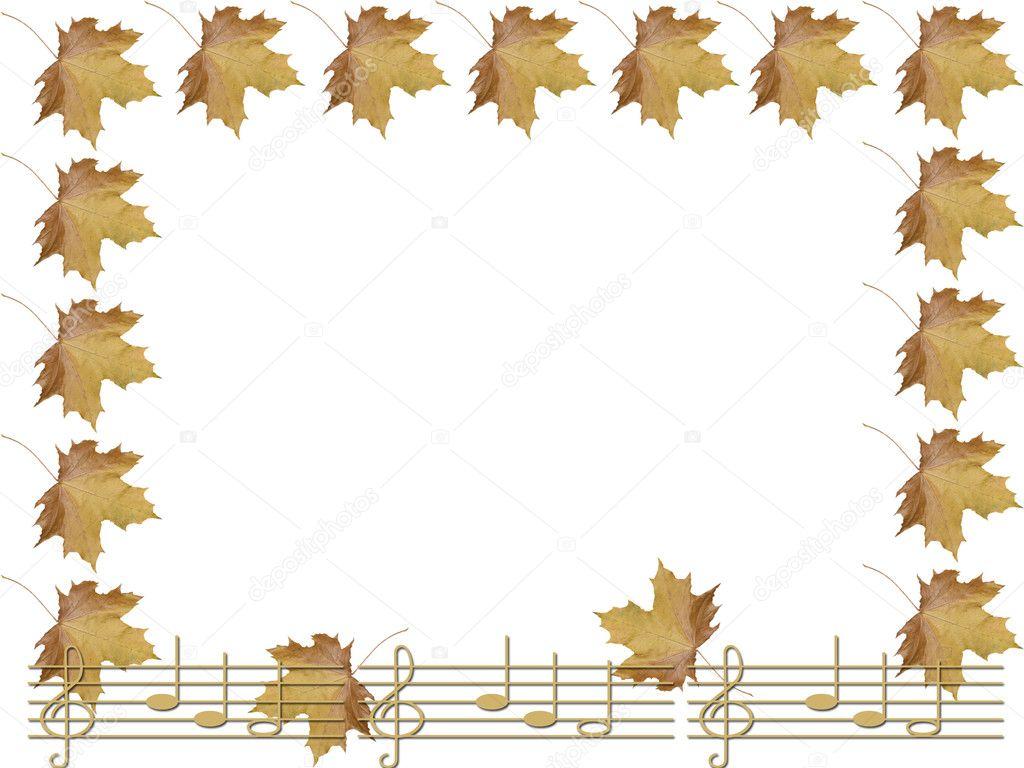 帧从秋天的枫叶和笔记– 图库图片