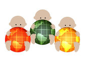 Three babies with globes — Stock Photo