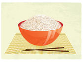 The big bowl with rice and chopsticks on a bamboo rug — Stock Vector