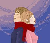 Winter Couple — Stock Vector