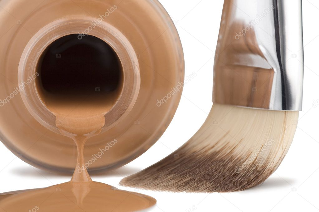 Cosmetics for face, brush, close-up on white background.  Stock Photo #1904999